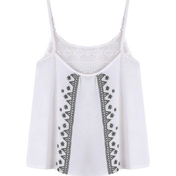 White Mesh Patch Patterned Cami Top