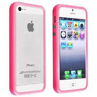 Insten® Bumper TPU Case with Aluminum Button Cover compatible with Apple® iPhone® 5 / 5S, Hot Pink