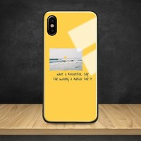Aesthetics Yellow quotes Song lyric Tempered Glass Soft Silicone Phone Case Cover For Apple iPhone 6 6s 7 8 Plus X XR XS MAX