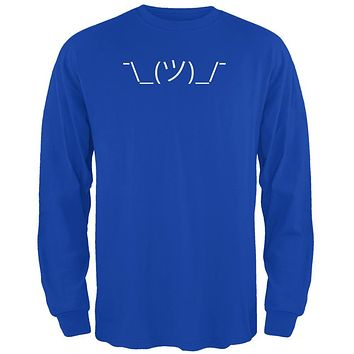Funny Emojicon Shrug Royal Adult Long Sleeve T-Shirt