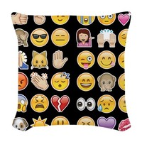 black emoji Woven Throw Pillow