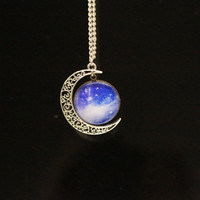 Moon necklace, time gem necklace, cosmic necklace, hollow moon charm necklace, Christmas gift