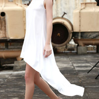 White Sleeveless  Summer Princess Maxi Dress Long in Back Short in Front