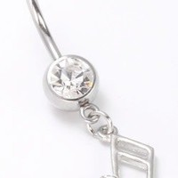 Body Accentz® Belly Button Ring Navel Music Note Body Jewelry Dangle 14 Gauge