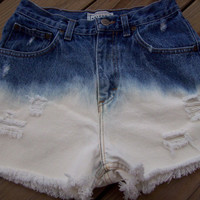 High Waisted Ombre Bleached Distressed Shorts by DenimAndStuds