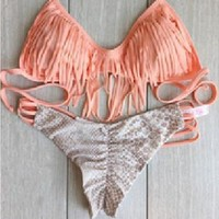 Hollow Out Bikini Sexy Beach Tassels Tankini [6044811073]
