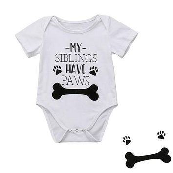 born Infant Baby Boy Girls Funny Bone Romper Jumpsuit Clothes Outfits