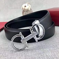 Ferragamo Popular Woman Men Smooth Buckle Belt Leather Belt With Box