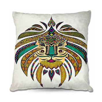 Colorful 'Emperor Tribal Lion' Throw Pillow in Turquoise, Yellow, Green, Black – 3 Sizes Available