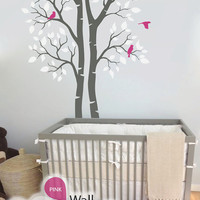 """Twin Tree Wall Decal - Wall Decoration - Tree Wall Sticker - Tree Decal - Large: approx 95"""" x 61"""" - KC006"""