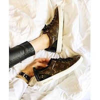 """Louis Vuitton"" LV Trending Women Men Stylish Casual Shoes Sneakers Coffee I/A"