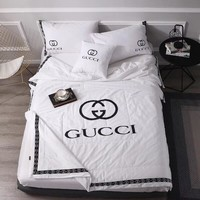 Luxury Gucci Designer Home Blanket Quilt coverlet 2 Pillows Shams 4 PC Bedding Set