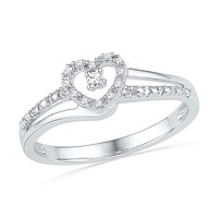 10kt White Gold Women's Round Diamond Heart Love Promise Bridal Ring 1/20 Cttw - FREE Shipping (US/CAN)