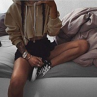 Fashion Womens Khaki Cropped Top Hoodie Long Sleeve Sweats Sweatshirt Pullover