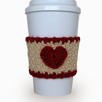 Crochet Heart Coffee Cup Cozy Oatmeal and Dark Red