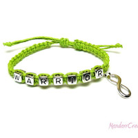 Warrior Bracelet, Lime Green with Silver Tone Infinity Charm, Adjustable in Size, Ready to Ship