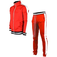 MJARTORIA Men's Jacket + Pants Tracksuit Male Splice Long Sleeve red black Casual Set Male Pocket Zipper Design Men Sportswear