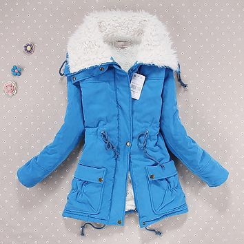 Women thicken winter hooded long down jacket women slim fit heavy hair collar cotton-padded clothes coat women