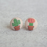 Cactus, Fabric Covered Button Earrings