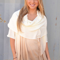 Ombre Cowlneck Sweater - Cream - One