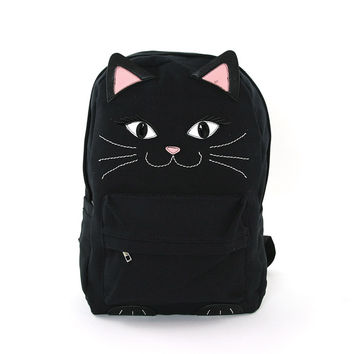 Black Kitty Cat Face Canvas Backpack Bag