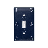 Anchor Light Switch Plate Cover / Nautical Nursery Decor / Boys Girls Room / Out to Sea Navy Blue Michael Miller