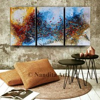 "Large Wall Art, 72"" Abstract Painting Framed, Canvas Modern Art, Contemporary Blue Orange Art Home Decor by Nandita Albright"