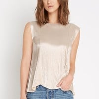 Brittan Metallic Pleated Top