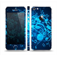The Glowing Blue Music Notes Skin Set for the Apple iPhone 5