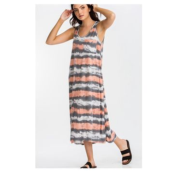 Darling Coral/Pink and Grey Striped Maxi Dress
