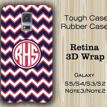 Navy Blue and Red Chevron Monogram Samsung Galaxy S5/S4/S3/Note 3/Note 2 Case