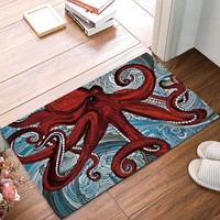 Autumn Fall welcome door mat doormat Home Art Kraken Ocean Theme Red Giant Octopus Tentacles In The Oceans Oil Painting s Kitchen Floor Bath Entrance Rug Mat AT_76_7