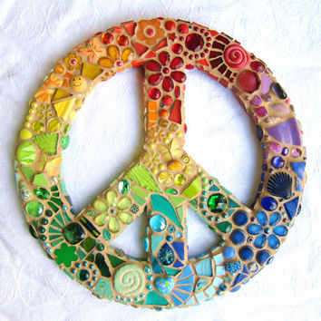 Rainbow Mosaic Peace Sign by waschbear on Etsy