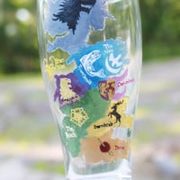 Game of Thrones Hand Painted Beer Glass: Map of Main Houses of Westeros