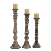 Set of 3 Vintage Brown Candlesticks - Large