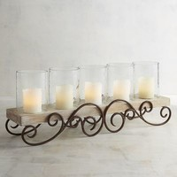 Metal Scroll Centerpiece Pillar Candle Holder