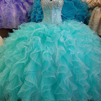 Aqua Dresses Quinceanera Gowns Organza Party Prom Dress Alternative Measures - Brides & Bridesmaids - Wedding, Bridal, Prom, Formal Gown