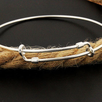 Sterling silver Expandable charm bangle , expandable bracelet add your charm , Expandable bangle Bracelet plain bangle bracelet