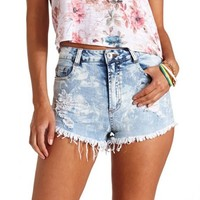 Acid Wash High-Waisted Cut-Off Denim Shorts