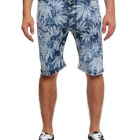 Leaf Print Denim Dropcrotch Shorts