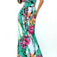Bohemian Plunging Neck Short Sleeve Floral Print Maxi Dress For Women