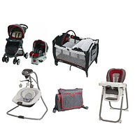 Graco Red Complete Baby Gear Bundle,Stroller Travel System,Swing,High Chair