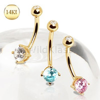 14Kt Gold Ring Navel Ring with Prong Set Round CZ Belly Button Ring