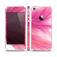 The Abstract Pink Flowing Feather Skin Set for the Apple iPhone 5s