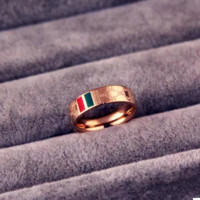 Plated 18k rose gold classic red and green patterned titanium steel ring lovers ring for men and women