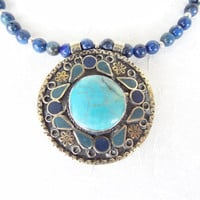 Lapis Lazuli Necklace,  Afghan Turquoise Pendant Necklace, Statement Necklace Tribal Jewelry OOAK Jewelry,