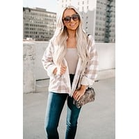 Charming Gal Button Up Jacket (Ivory/Taupe)