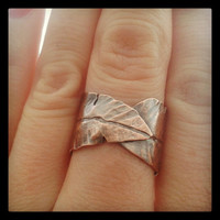 Copper Feather Ring  Copper Leaf Ring  Wrap by JanuaryJewelryShop