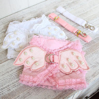 Cute pink angel small dog cat Harness vest lead Leash chihuahua dog pet cat luxury pearl collar Leads For cat Dog angel costume