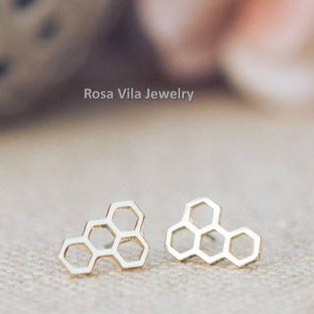 Chic Honey Comb Earrings - Gold and Silver